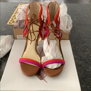 NiB Jessica Simpson Leather Sandal Heels